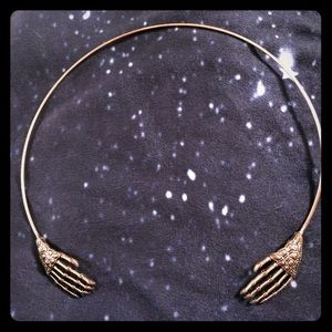 Skeleton Hands Wrap Around Necklace Jewelry